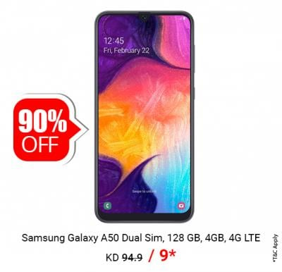 Samsung Galaxy A50 Dual Sim, 128 GB Only @ 9.00 KD
