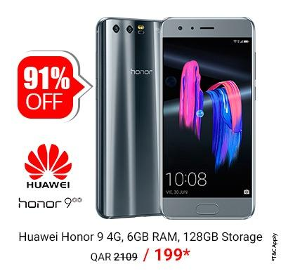 Huawei Honor 9 Smartphone,  6GB RAM, 128GB Storage Only @ QAR 199/-