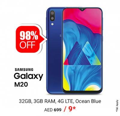 Samsung Galaxy M20 Dual SIM - 32GB, 3GB RAM, 4G LTE, Ocean Blue