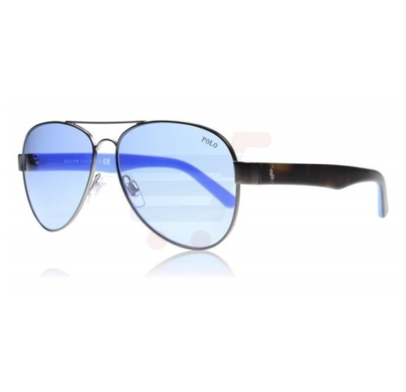 Ralph Lauren Aviator Gun Metal Frame & Blue Mirrored Sunglasses For Men - 30969050-72
