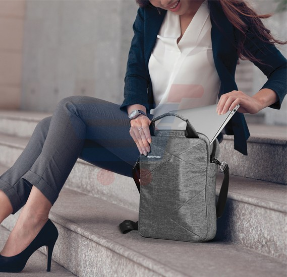 Promate Lightweight Handbag For Laptops Trench-L Grey
