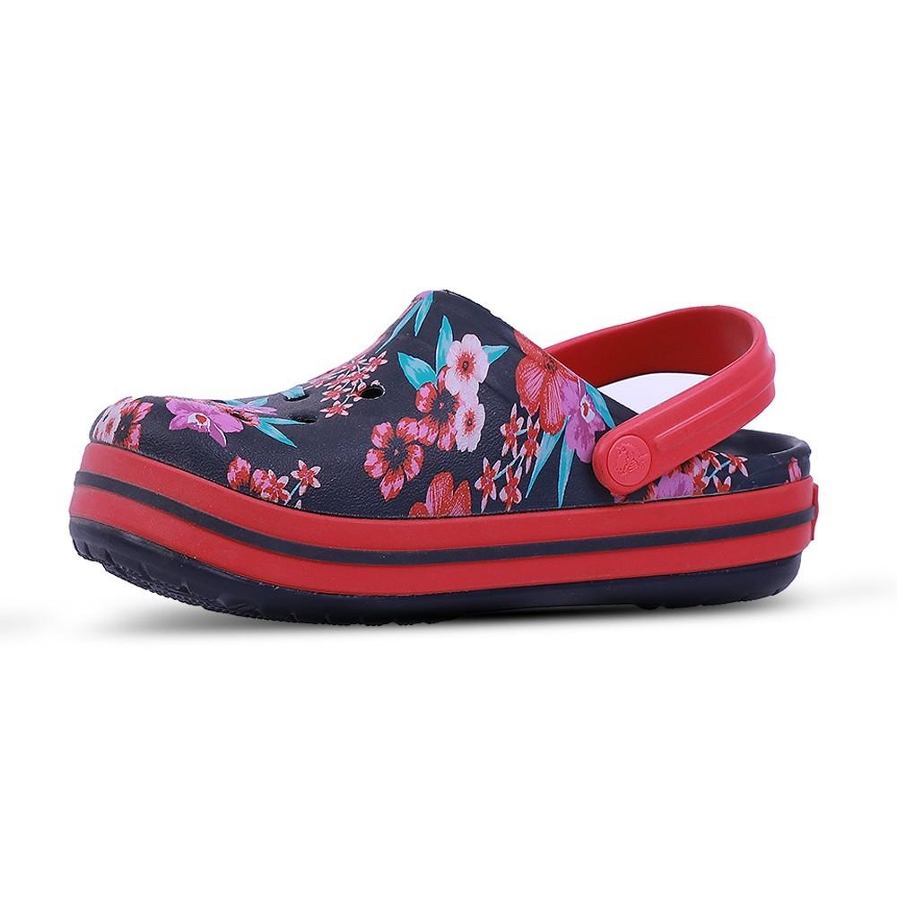 Crocs Kids Clogs Sandals Croc Band Flower Print Clog K Navy 205898-4KC, Size 24