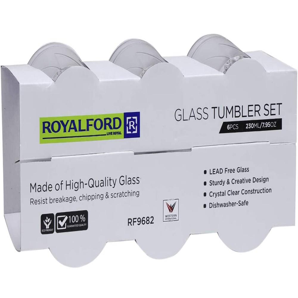 Royalford Glass Tumbler 230ml 6piece Set Multi-Color, RF9682