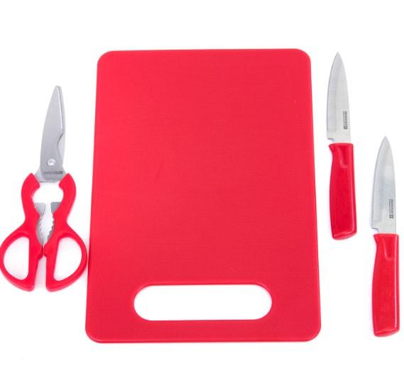 Royalford 4Pcs Set(2 Knives+Scissor+Board)1x48, RF6968