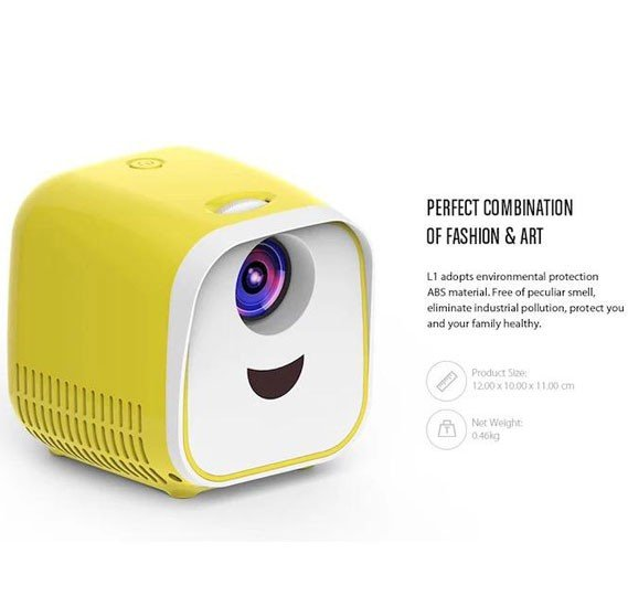 3 In 1 Bundle offer, 3Pcs,  L1 Kids Mini Projector Support Full HD 1080P Children Early Education Projector – White/US Plug