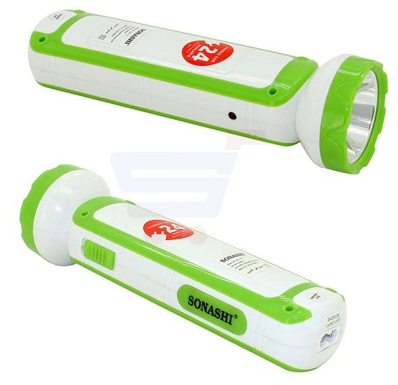 Sonashi 2 In 1 Rechargeable Led Torch With Lamp Green SPLT-115