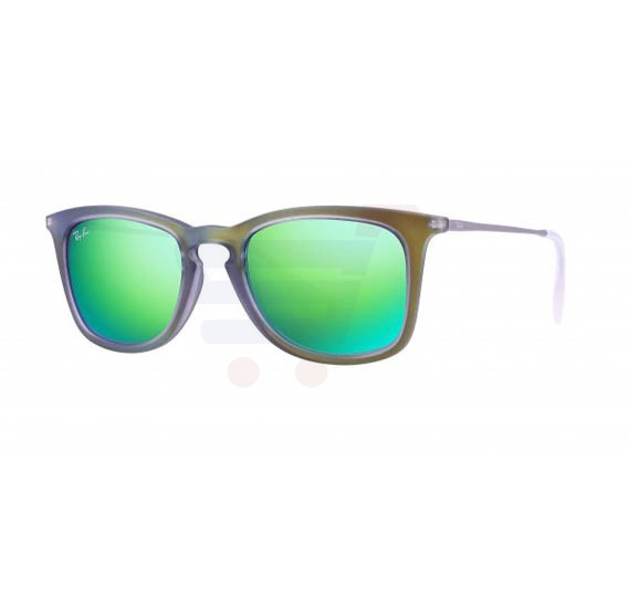 Ray-Ban Wayfarer Green Rubber Frame & Green Mirrored Sunglasses For Unisex - RB4221-616-93R