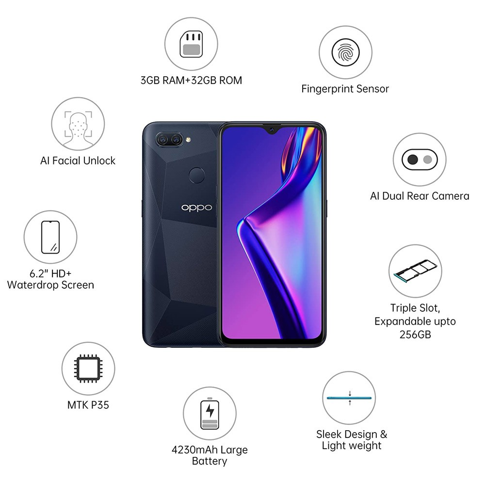 Oppo A12 Dual SIM 3GB RAM 32GB 4G LTE Black