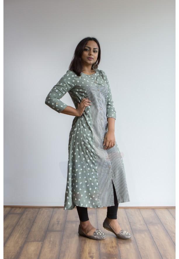 Buy 2 Ruky Fareen Women Long Top Flair Kurti Full Sleeve, RF 205, 206 and Get RF 207