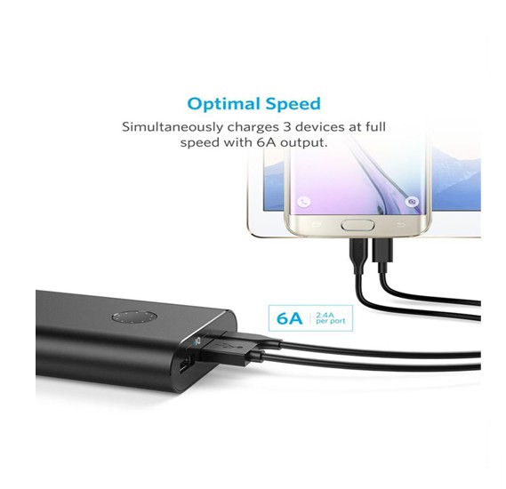 Anker 20100 mAh Portable Power Bank With Micro USB Cable Black