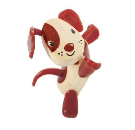 Hape Dog Red bamboo figurine, E5533