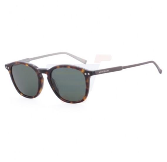 Mont Blanc Rectangular Havana Frame & Green Mirrored Sunglasses For Unisex - MB600S-52R