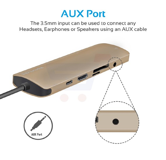 Promate USB Type-C Hub, Aluminium USB-C Adapter to Pass Through Type-C Charging Hub with Aux Audio Port, SD/Micro SD Card Reader, Ethernet Port, 3 USB 3.0 Ports and 4Kx2K HDMI Port for MacBook Pro, Chromebook Pixel, PrimeHub-C.Gold