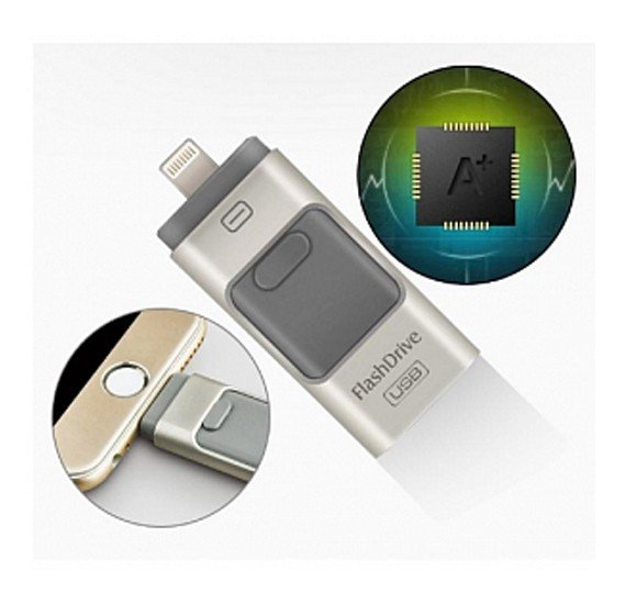 Flash Devices Universal Multi-Color 3 In1 i-Flash 128GB OTG USB Flash Drive For Android, iOS, Laptop & PC, VC5006