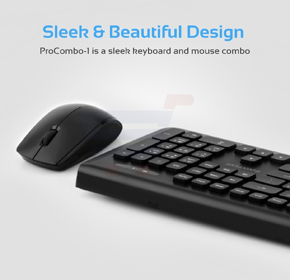 Promate Wireless Keyboard and Mouse Combo, Portable 2.4GHz Cordless Mouse and 104 Keys Wireless Keyboard with Nano USB Receiver for Desktop, PC, Windows, iOS, iMac, PROCOMBO-1.BLK/AE
