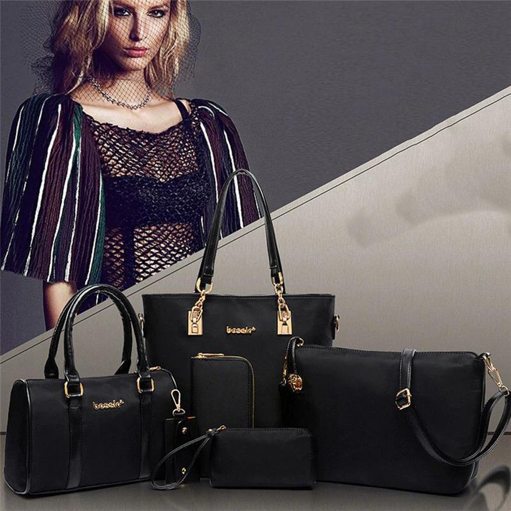 Womens 6 Pcs PU Leather Composite Fashion Hand Bag Set Black