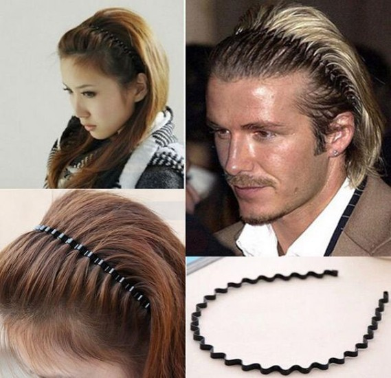 Black Metal Comb Sports Band Long Hair Headband For Unisex