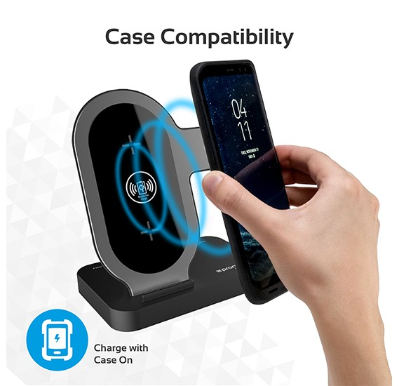 Promate Wireless Charging Stand, Portable Aluminium Dual 10W Qi Fast Wireless Charging Dock with Anti-Slip Surface, AuraBase White