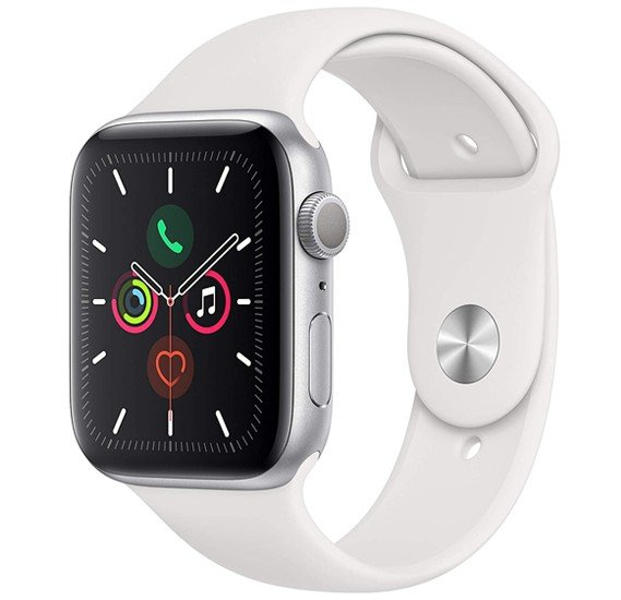 Apple Watch Series 5-44mm GPS Silver Aluminium Case With White Sport Band