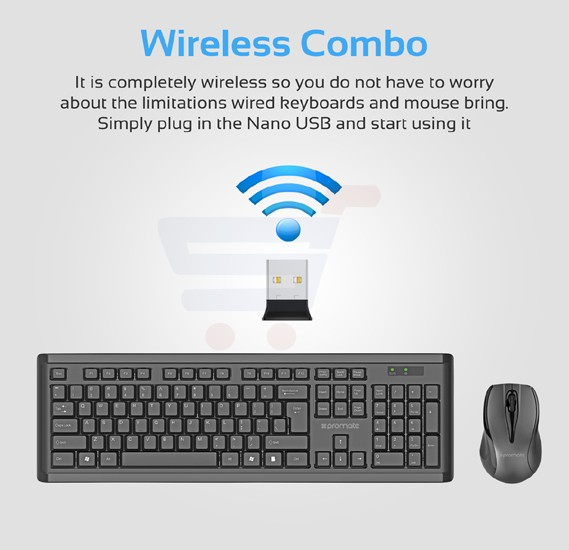 Promate Wireless Keyboard and Mouse, Full-Size Super-Slim 2.4GHz Cordless Keyboard and Mouse Combo with Nano USB Receiver and Auto Sleep for Laptops, Desktop, PC, iOS, Windows, PROCOMBO-3.BLK/E