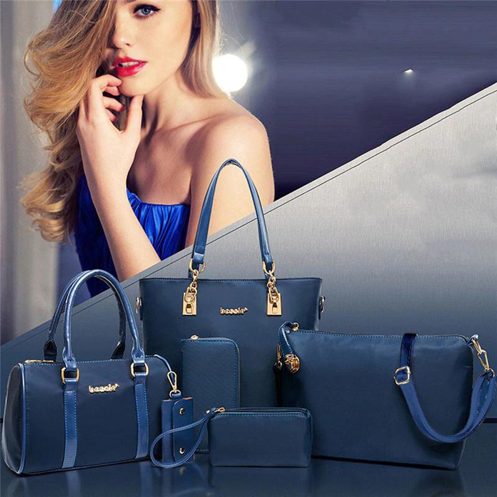 Womens 6 Pcs PU Leather Composite Fashion Hand Bag Set Blue