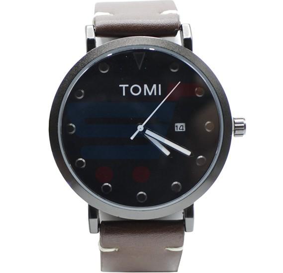 Tomi Analog Quartz Mens Watch T074, Black Brown