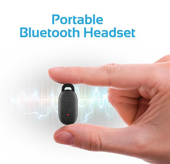 Promate Bluetooth Headset Car Charger, Mini Wireless Headset with Magnetic Car Charging Dock and 3.4A Dual USB Port for Smartphones and Tablets - Aria-2 Black