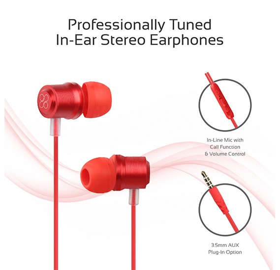 Promate Wired Earphone, Premium Magnetic Earbuds Stereo Headphones, Travi Red