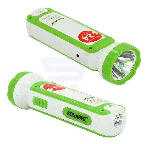Sonashi 2 In 1 Rechargeable Led Torch With Lamp, Green SPLT-114