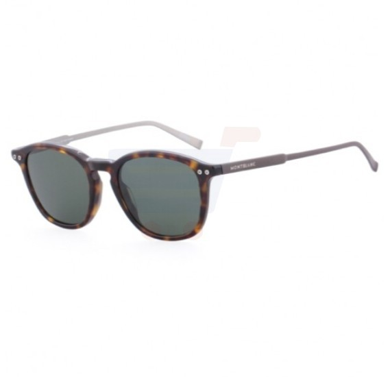 Mont Blanc Rectangular Havana Frame & Green Mirrored Sunglasses For Unisex - MB599S-52R