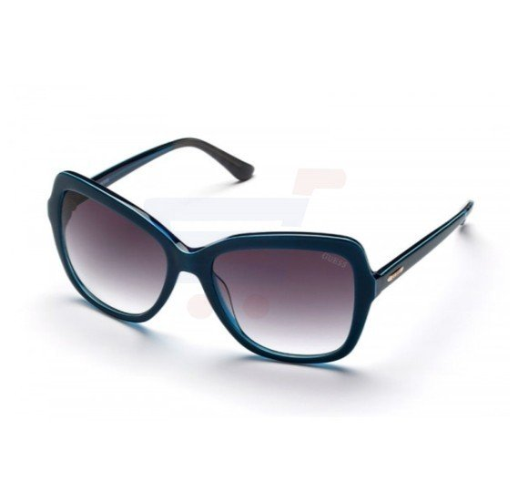 Guess Square Blue Frame & Grey Mirrored Sunglasses For Woman - GU7428-90B