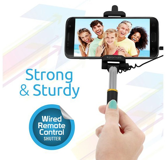 Promate Selfie Stick, Perfectly Foldable Extendable Selfie Stick Pole Wire Monopod with Built-in Remote Shutter for Android and iOS Smartphones, MiniPod-Black