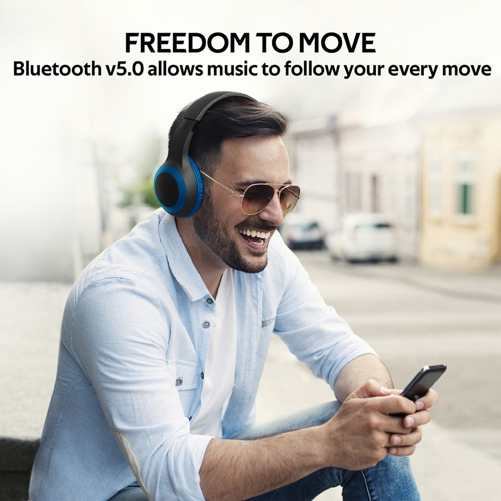 Promate Bluetooth Headphone, Over-Ear Deep Bass Wired/Wireless Headphone with Long Paytime, LABOCA.BLUE