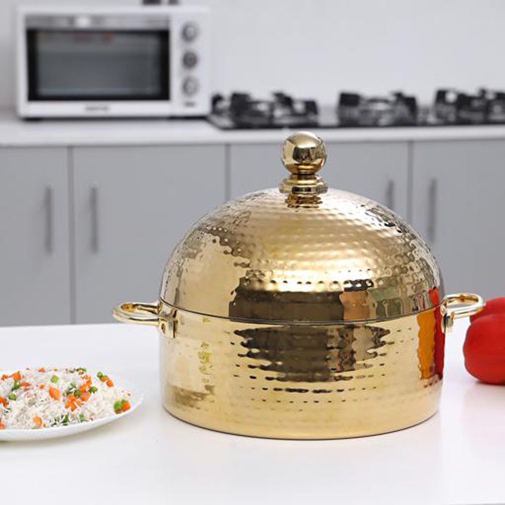 Royalford Dome Hot Pot Full Hammered Gold finish 4Litres, RF9722