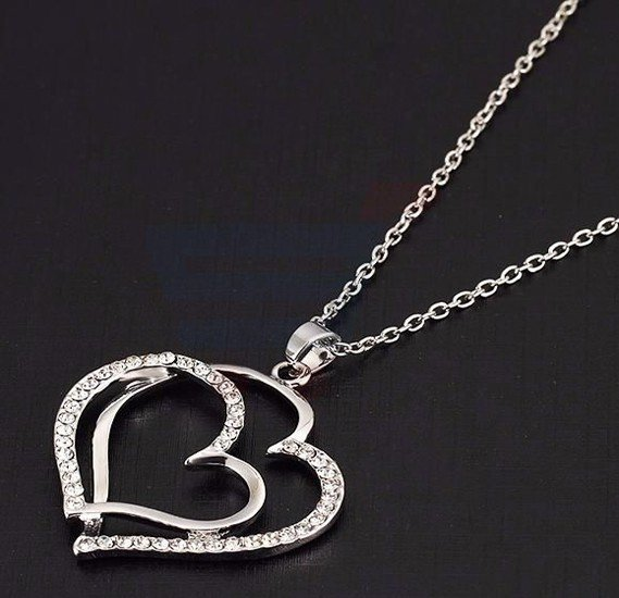 18k White Gold Plated Fashion Pendant Necklace Jewelry Set For Women, CZ Diamond Valentine Heart