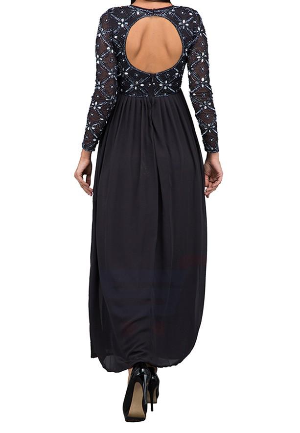 TFNC London Carnation Maxi Evening Dress Dark Grey - ANQ 42170 - L