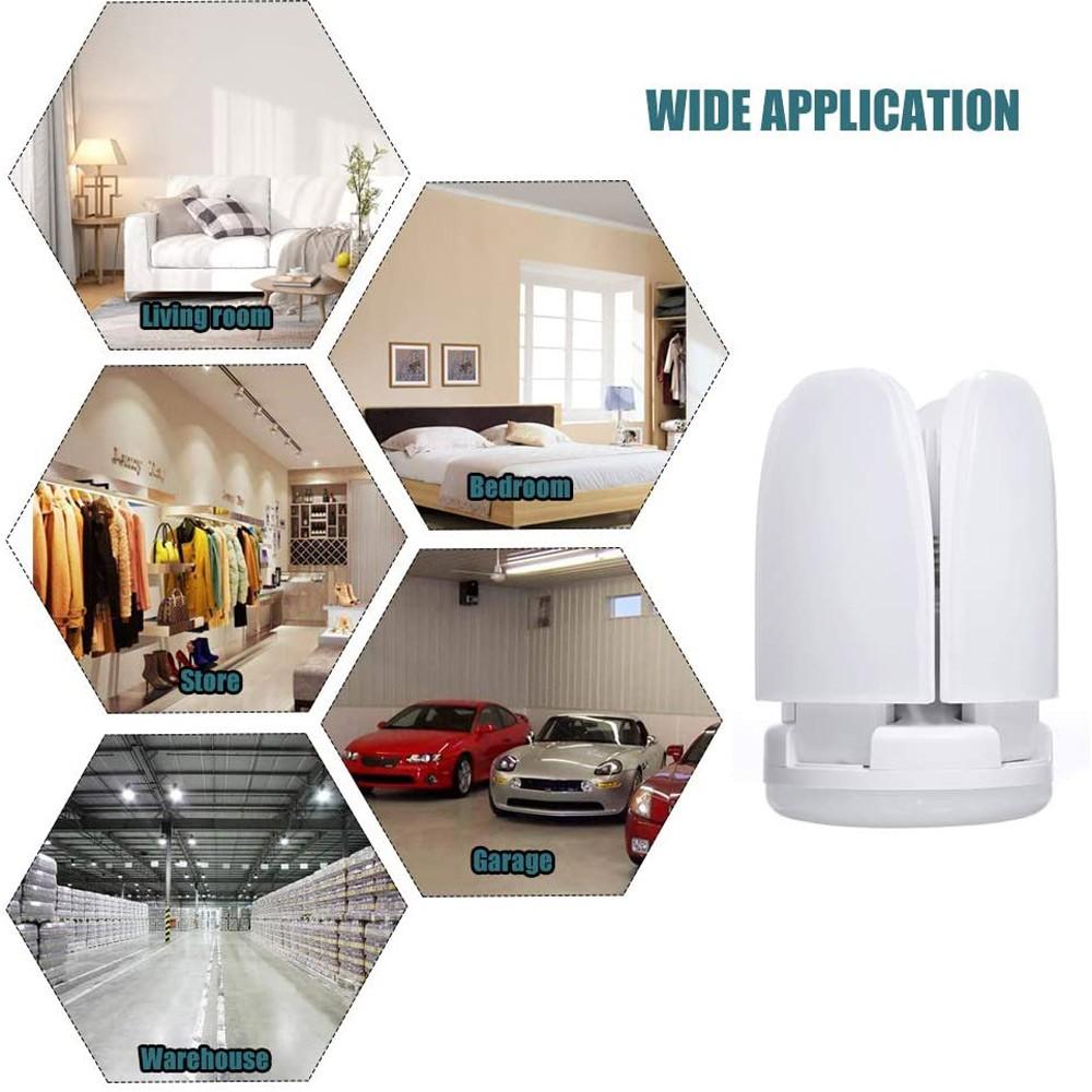 Foldable Fan Blade Bulb E27 Ceiling Garage Lights Lighting Angle Adjustable LEDs Light for Indoor Home Decor