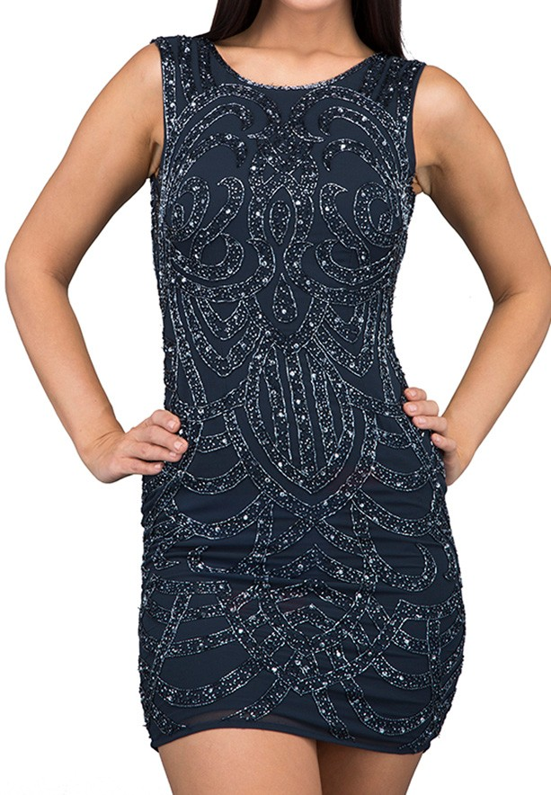 TFNC London Britanny Sequin Sleeve Party Dress Navy - ANQ 30170 - L