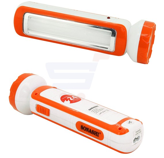 Sonashi 2 In 1 Rechargeable Led Torch With Lamp Orange SPLT-115