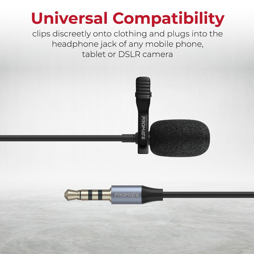 Promate Lavalier Microphone with HD Sound, 3.5mm Connector Clip-On Mic, Noise Reduction, ClipMic-AUX