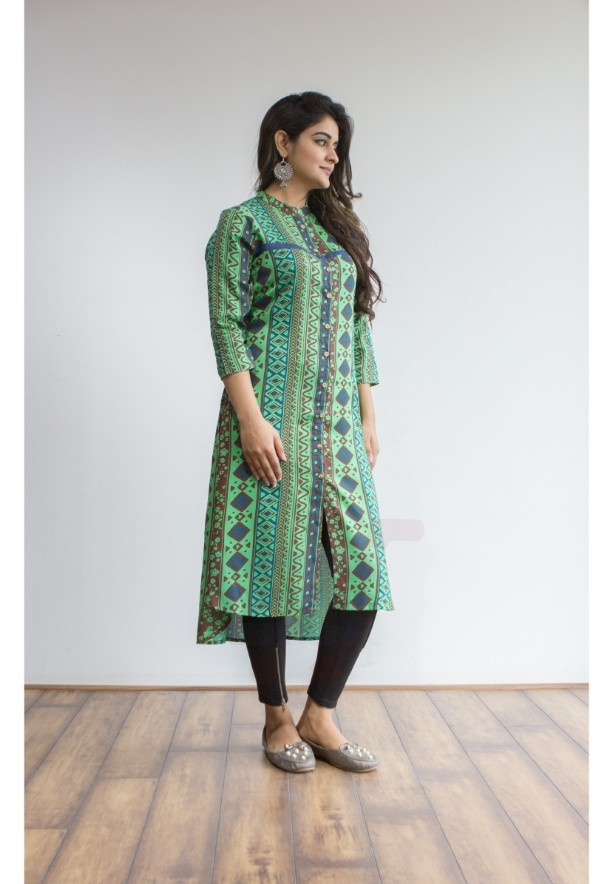 Ruky Fareen Women Long Top Flair Kurti Full Sleeve - RF 205 - XL