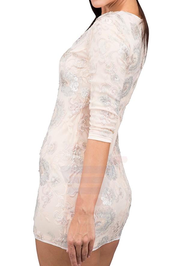 TFNC London Paris Print Party Dress Nude - CTT 55870 - L