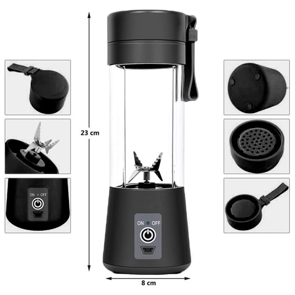 Portable And Rechargeable Battery 6 blade Juice Blender Black Color