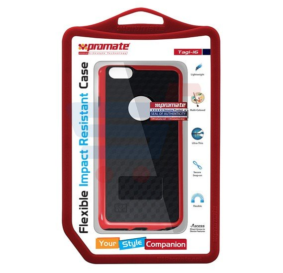 Promate Tagi i6 iPhone Case, Flexible Impact Resistant Case for iPhone 6/6s, Maroon