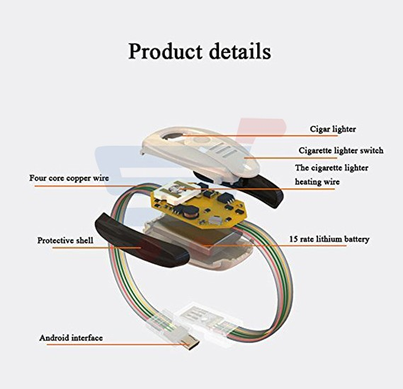 Bracelet Wrist Band USB Charger, Power Bank Data Sync Cable for Samsung Phones and Cigarette Usb Lighter