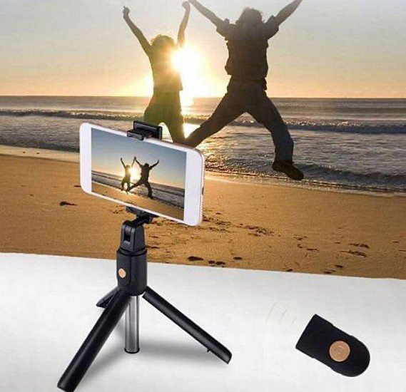 2 in 1 Wireless Bluetooth Tripod Selfie With One Button Control Photo Bluetooth Selfie Stick