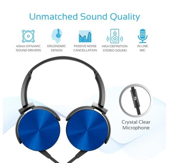 Promate Headphone, Premium Over-Ear Headset with Rotatable Ear-Cups, Built-in Microphone, HD Sound, 3.5mm Audio Jack and Anti-Tangle Wires for Smartphones, Tablets, Mp3, Laptops, Chime Blue