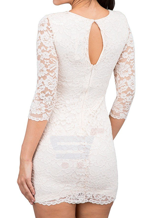 TFNC London Paris Lace Casual Dress Nude - CTT 35470 - L