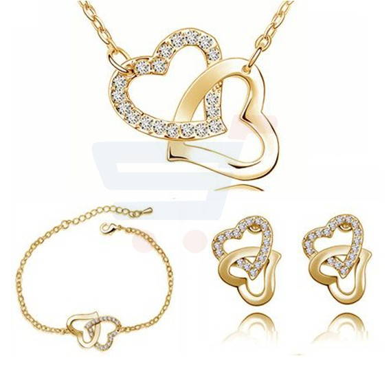 18k Gold Plated Charm Gift Czech Rhinestone Double Heart Necklace Earrings Bracelet For Women