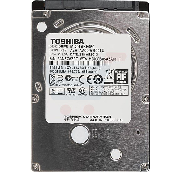 Toshiba 500gb notebook sata Hdd 2.5